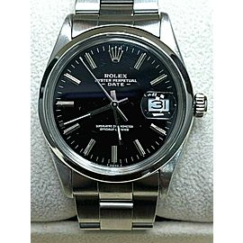 Rolex Date 15000 Black Dial Stainless Steel MINT Band