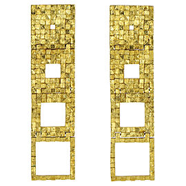 Antonio Bernando Tessera Textured Gold Geometric Earrings in 18k Yellow Gold
