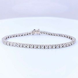 Round Brilliant Diamond Tennis Bracelet 3.00 CTW G VS 18K White Gold