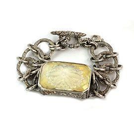 Stephen Dweck Sterling Silver Clear Quartz Floral Inclusion Bar Chain Bracelet