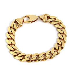 "Classic 14k Yellow Gold 12mm Wide Cuban Link Chain Bracelet 8.5"" Long"