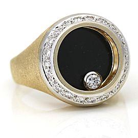 Men's Onyx Diamond Spinning Ring 14k Yellow Gold