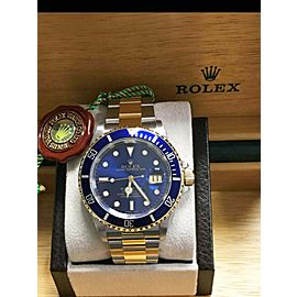 Rolex Submariner 16613 Blue Dial 18K Yellow Gold Stainless Steel Gold Through