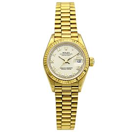Rolex Lady Datejust Presidential Watch 18k Yellow Gold White Roman Dial 69178