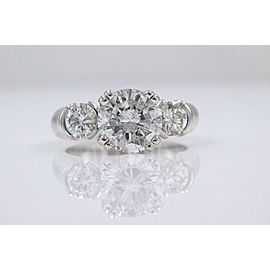 Three Stone Diamond Engagement Ring Round 2.93 tcw 18k White Gold $20,000 Retail