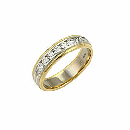 Hearts On Fire Diamond 18k Two Tone Gold Band Ring Size 8