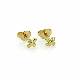 Tiffany & Co. Mini Stitch Studs Cross 18k Yellow Gold Earrings