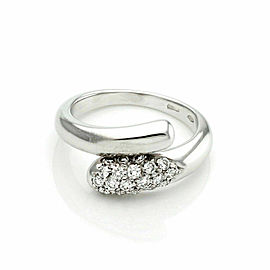 Bvlgari Diamond 18k White Gold Bypass Band Ring