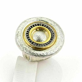Gurhan Moon Beam Sterling & 24k Gold Black Diamonds Ring Size 7