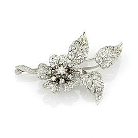 Estate 1.50ct Diamond 14k White Gold Flower & Leaves Brooch Pin