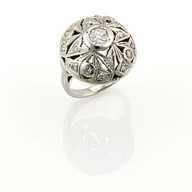 Art Deco Diamond 14k White Gold Open Style Floral Dome Ring