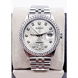 Rolex Datejust 16030 Jubilee Diamond Dial Diamond Bezel Stainless Steel MINT