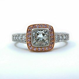 Platinum & Rose Gold Diamond Engagement Ring Cushion & Pink Diamonds 1.50 tcw