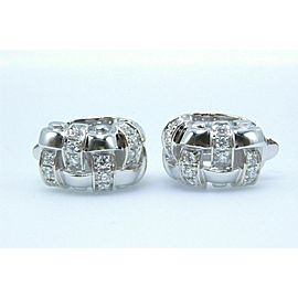 Tiffany & Co Vannerie Basket Weave Diamond Earrings 18k White Gold $7,000 Retail