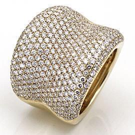 NAVA BH EFFY Pave Diamond Wide Concave Band Ring in 18k Yellow Gold (2.86 ct tw)