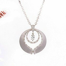 PHILLIPE CHARRIOL Marquise Diamond Pendant Necklace in 18kt White Gold 0.65 tcw