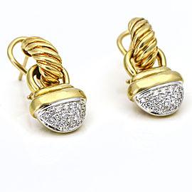 David Yurman Diamond Acorn Dangle Earrings in 18k Yellow Gold