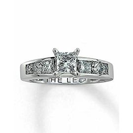 LEO Diamond Engagement Ring Princess Cut 1.52 tcw I VS1 14k White Gold and Plat