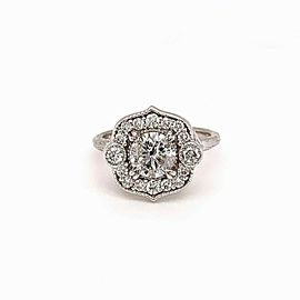 Round Brilliant Diamond Flower Ring 1.08 CTW 14K White Gold