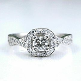 Princess Halo Twisted Diamond Engagement Ring 14k White Gold 1 tcw $6,000 Retail