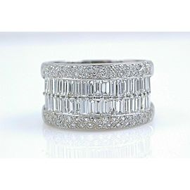 Le Vian 18k White Gold Round & Baguette Diamond Wedding Band Ring 1.55 tcw