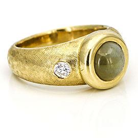 Cat's Eye Chrysoberyl Diamond Ring in 18k Yellow Gold