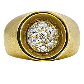 Circle of Pave Diamonds Statement Ring in 14k Yellow Gold