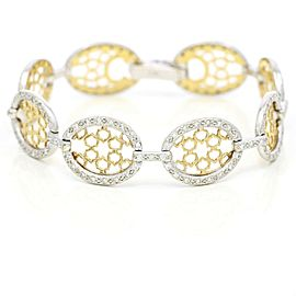 Charriol Diamond Openwork Oval Link DaVinci Bracelet in 14k White Yellow Gold