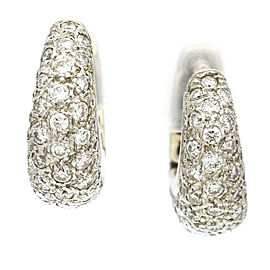 Pave Diamond Huggie or Dangle Earrings in 18k White Gold ( 5.00 ct tw )
