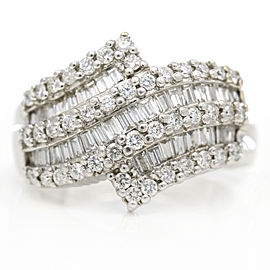 Women's Baguette Round Diamond Band Ring in 14k White Gold ( 1.00 ct tw )