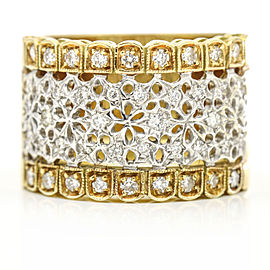 Women's Diamond Openwork Wide Band Ring in Two-Tone 18k Gold ( .75 ct tw )