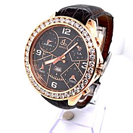 Jacob & Co. Five Time Zone JC-9 18K Rose Gold Diamond Bezel BEAUTIFUL