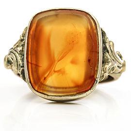 Vintage Carnelian Gemstone Signet Ring in 14k Yellow Gold Signed WS