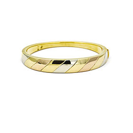 H Stern Tri-Color Hinged Bangle Bracelet in 18k White Rose Yellow Gold