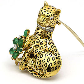 Emis Beros Diamond Emerald Flowers Leopard Brooch 18k Yellow Gold ( 9.51 ct tw )