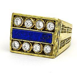 Cindy Royce Lapis Lazuli Diamond Retro Statement Ring in 18k Yellow Gold