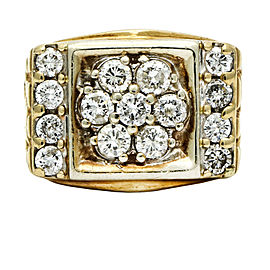 Men's Retro Diamond Statement Ring in 14k Yellow Gold ( 2.00 carats )