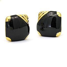 Michael Bondanza Black Onyx Square Earrings in 18k Yellow Gold