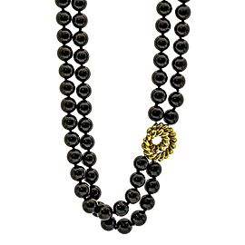 Tiffany & Co. Onyx Bead Double Strand Choker Necklace 18k Yellow Gold