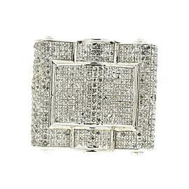10k White Gold Square Pave Diamond Mens Ring