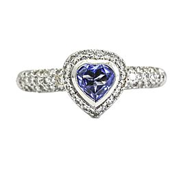 Barry Kronen Heart Tanzanite Pave Diamond Ring 18k White Gold