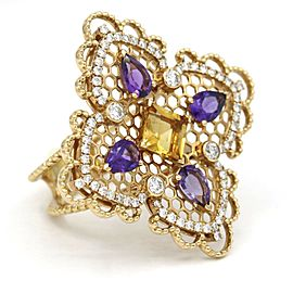 Georland Citrine Amethyst Diamond Ring in 18k Yellow Gold (2.71 ct tw )