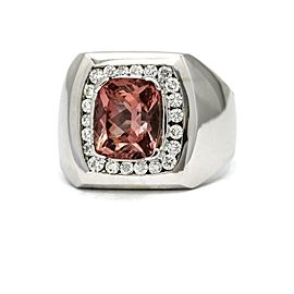 Pink Tourmaline Diamond Statement Ring in 14k White Gold (5.95 ct tw) Size 10.5