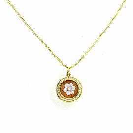 Ippolita Rock Candy Diamond Shell Cameo Flower 18k Gold Pendant & Chain