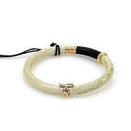 Nouvelle Bague Beige Enamel 18k Pink Gold/Sterling Bangle Bracelet