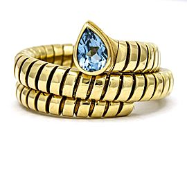 Bulgari Blue Topaz Tubogas Serpenti Ring in 18k Yellow Gold Size 8