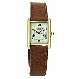 Must de Cartier Tank Vermiel Quartz Vintage Watch in Gold-Tone Sterling Silver