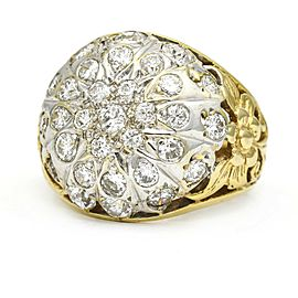 Vintage Cluster Bombe Ring in 14k Yellow White Gold (2.00 ct tw)