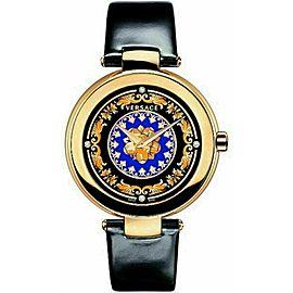 New Versace Mystique Foulard VK601 0013 Gold Tone Quartz Diamond 38MM Watch