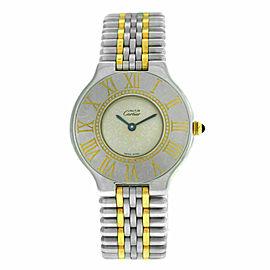 Authentic Ladies Cartier Must de Cartier 21 Steel Gold Bullet 31MM Quartz Watch
